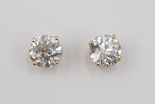 Pair of Old European Cut Diamond Stud Earrings