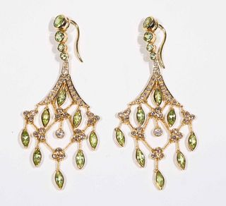 Pair of Peridot & Diamond Chandelier Earrings
