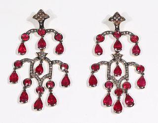 Pair of Ruby & Diamond Earrings, Laura Munder