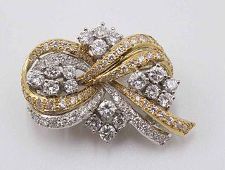 Stylized Ribbon Diamond Brooch