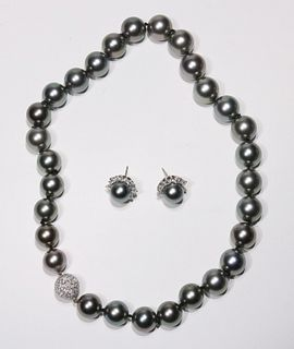 Tahitian Pearl and Diamond Necklace and Earrings