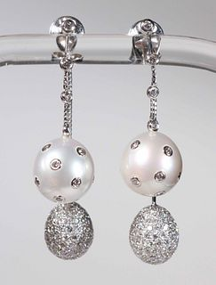 White Double Drop Pearl and Pave Earrings