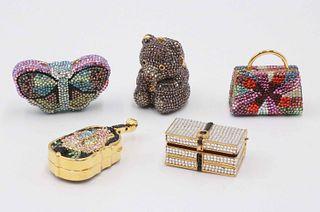 Four Judith Leiber Crystal Pillboxes