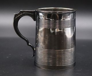 English Ribbed Sterling Silver Cup, 18th C