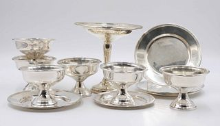 Six Sterling Silver Footed Ice Cream Cups