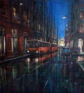 Calles húmedas de la Habana en la noche de Pedro Hernández Torres