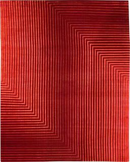 Detour Red 8'X10' Silk & Wool Rug