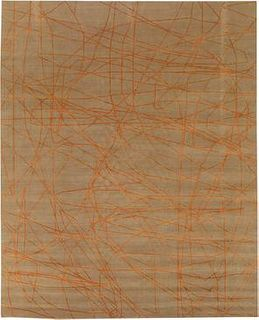 Wire Beige and Orange 9'X12' Wool Rug