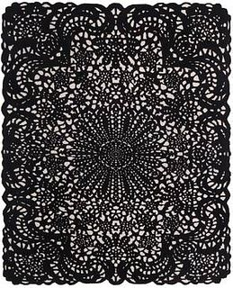 Doily Black & White 8'X10' Wool Rug