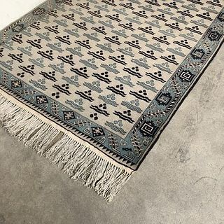 Woven Rug - Blue and Cream