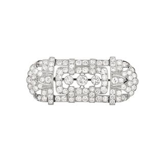 French Deco Diamond and Platinum Brooch