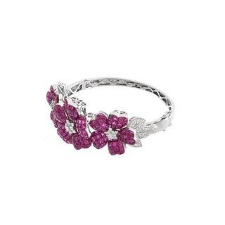Ruby, Diamond and 18K Bangle Bracelet