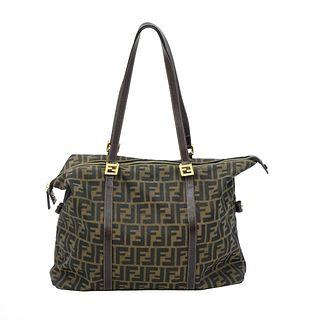 Fendi Zucca Zip Tote Shoulder Bag
