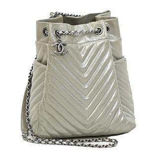 Chanel Chevron Urban Spirit Drawstring Bag.