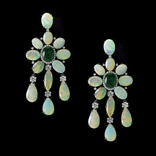 Opal, Emerald and Diamond Earrings