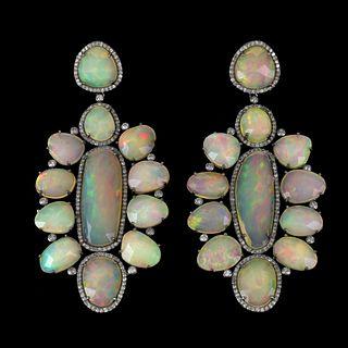 Opal, Diamond and Silver Earrings