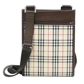 Burberry House Check Leather Crossbody Tote.