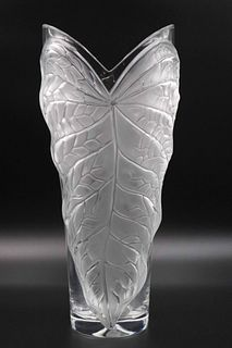 Lalique Frosted & Clear Glass Leaf-Decorated Vase