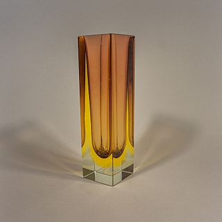 Florero de cristal de Murano sommerso amarillo y púrpura / Yellow & purple sommerso Murano glass vase