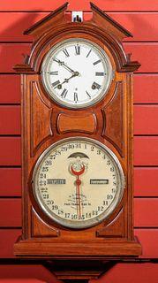 AN ITHACA NO. 6 HANGING LIBRARY WALNUT CALENDAR CLOCK