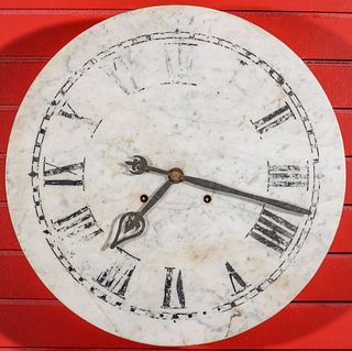 AN EARLY 20TH CENTURY MARBLE DIAL GALLERY CLOCK
