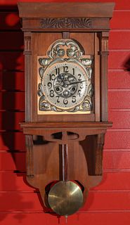 AN EARLY 20TH C. GERMAN CLOCK WITH ART NOUVEAU ORNAMENT
