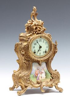 A FRENCH ROCCOCO STYLE CLOCK SIGNED ANSONIA