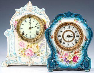 TWO NICE BLUE AND WHITE ROYAL BONN CASE ANSONIA CLOCKS