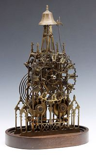 AN EARLY 20C FUSEE DRIVE ENGLISH BRASS SKELETON CLOCK