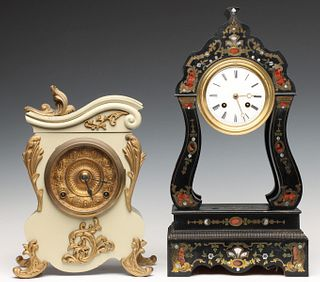 ANSONIA PAINTED IRON CASE AND FRENCH BOULLE CASE CLOCKS