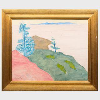Sally Michel (1902-2003): Rocks Tree and Sea