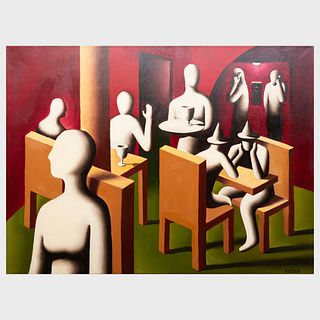 Attributed to Mark Kostabi (b. 1960): Restaurant