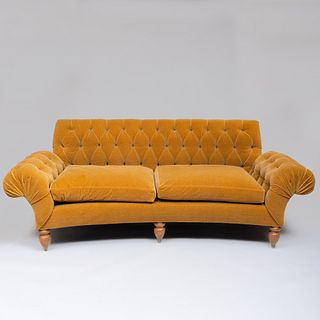 Brass-Mounted Walnut and Tufted Mohair Sofa, Custom Designed by Stephen Sills