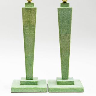 Pair of Modern Stained Shagreen Table Lamps