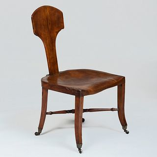 Unusual English Carved Oak and Walnut Side Chair