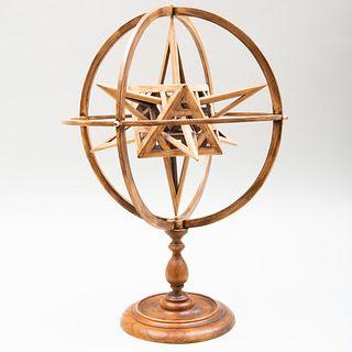 Jean-Marie Malzieu (b. 1948): Stained Wood Armillary Sphere