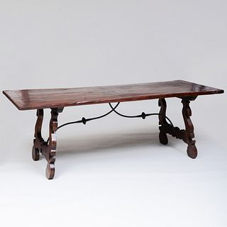 Italian Baroque Style Chestnut and Wrought Iron Refectory Table