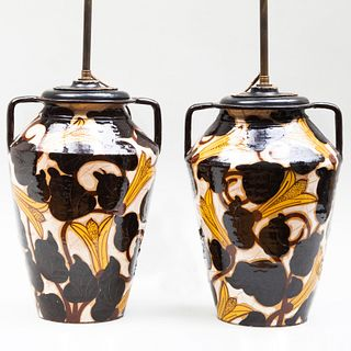 Pair of French Glazed Pottery Two Handle Urns Mounted as Lamps