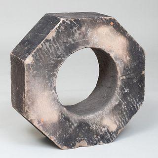 Blackened Stone Octagonal-Shaped Sculpture