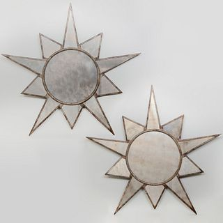 Pair of Faux Painted Metal Star Shaped Mirrors