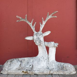 Composition Stone and Cement Sculpture of a Stag and Fawn
