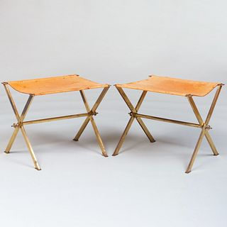 Pair of Gilt-Metal and Suede Folding Campaign Stools