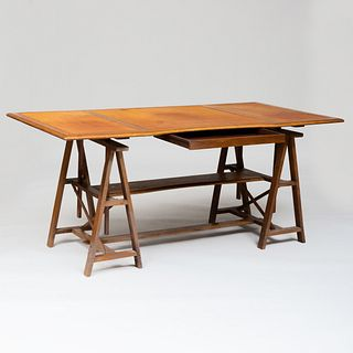 Large French Bleached Walnut and Leather Writing Top on A-Frame Supports