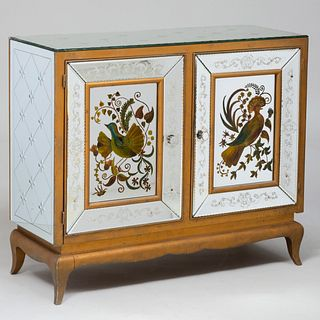 French Polychrome-Painted and Mirrored Two-Door Credenza