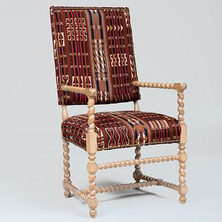 Painted Barley Twist Armchair with Kilim Upholstery