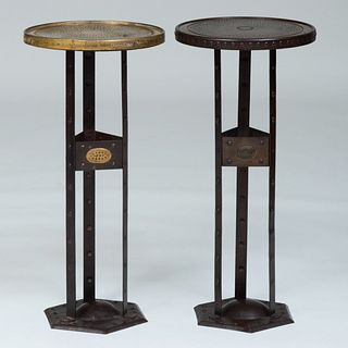 Two Arts and Crafts Brass and Metal Drinks Tables