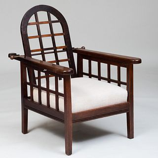 English Arts and Crafts Stained Oak Adjustable Armchair