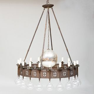 Unusual Modern Wrought Iron, Mercury Glass and Glass Chandelier