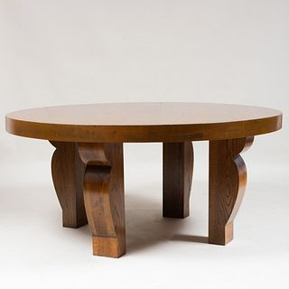 Modern French Oak Center Table, After a Design by Jean-Michel Frank, of Recent Manufacture