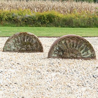 Pair of English Carved Red Sandstone Demi-Lune Garden Roundels